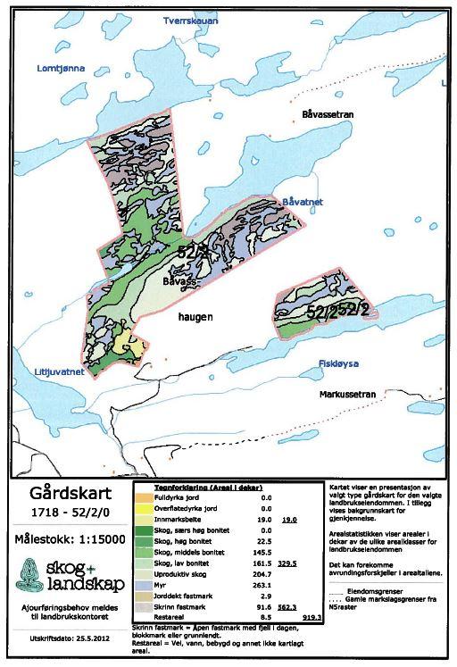 Gårdskart 1718 gnr 52 bnr 2