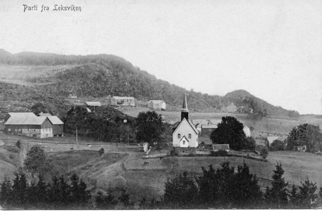 Leksvik kirke ca. 1906 - postkort